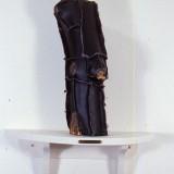 """Log Shroud 2"" Aspen Log Covered with Stitched Naugahyde, Shelf 14""H x 4.5""W"